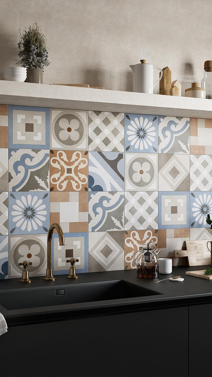 Gres Porcellanato Piastrelle Cucina cementine tiles fioranese